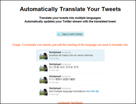 f3dfdf9b996 Send messages translated into several languages by Twitter with Translate  Twitter Tweets
