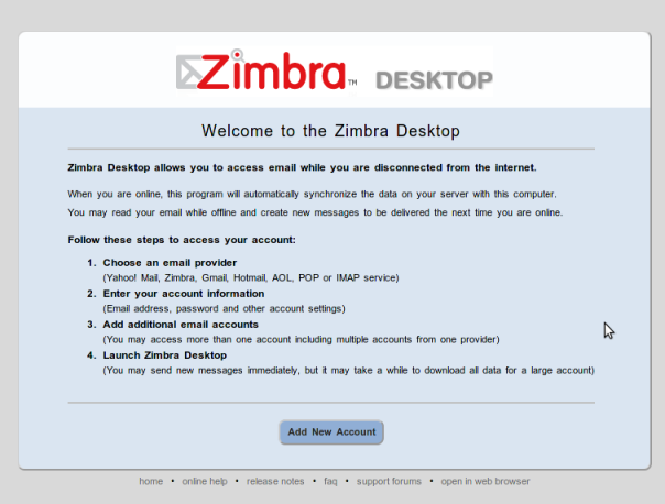 Zimbra Desktop: Integrated mail, Facebook and Twitter in one application